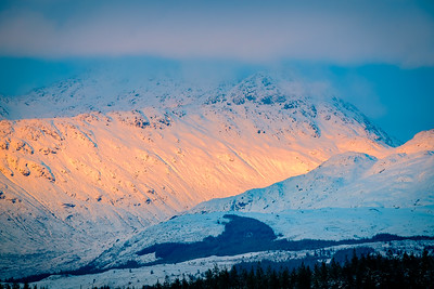 Last Light on Donald's Rocky Peak I - Sgurr Dhomhnuill (Ardgour), viewed from the top of Taobh Dubh (Morvern)