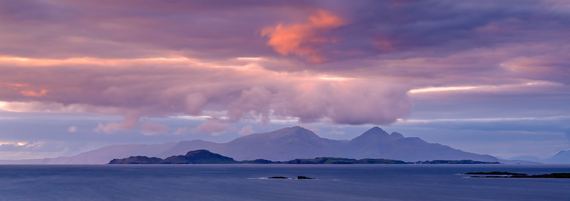 Pink Rùm & Muck - The Small Isles of Rùm and Muck viewed from Portuairk, Ardnamurchan