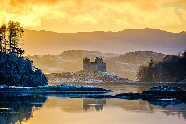 Winter Gold II - Castle Tioram from Kinlochmoidart, Moidart