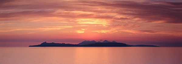 Summer Tranquillity II - The Small Isles of Eigg and Rùm viewed from Smirisary, Moidart