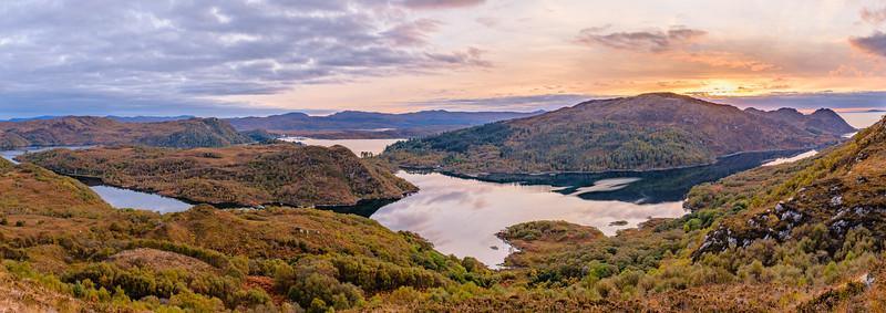 Above Autumnal Moidart - Shona Beag and Eilean Shona viewed from Egnaig Hill, Moidart