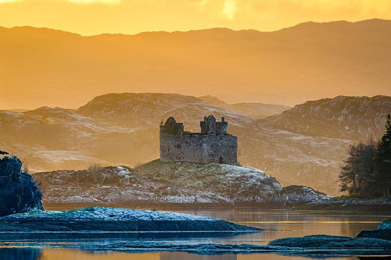 Winter Gold I - Castle Tioram from Kinlochmoidart, Moidart