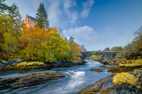 Autumn upon Aline I - The Ivy Bridge and Kinlochaline Castle, River Aline, Kinlochaline, Morvern