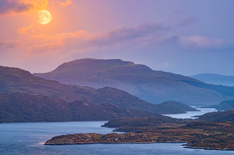 Morvern Harvest Moon I - Beinn na h-Uamha viewed from Ardslignish, Ardnamurchan