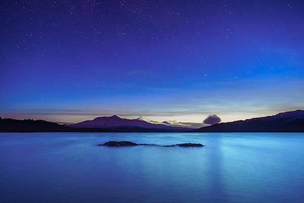 Twinkling in Twilight I - Loch Sunart and Ben Resipole, Viewed from Camas Torsa, Ardnamurchan