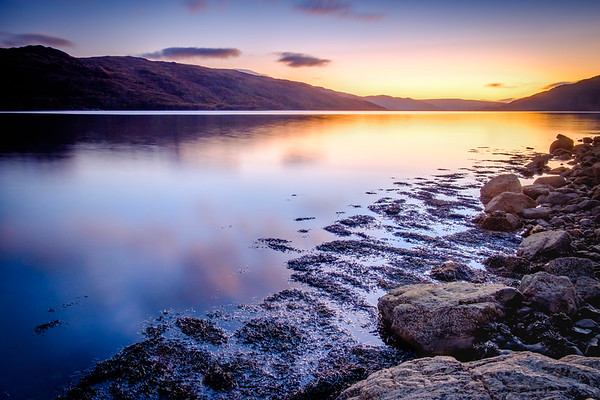 Lilac & Gold - Morvern from Loch Sunart Shore, Rockpool House, Resipole, Sunart