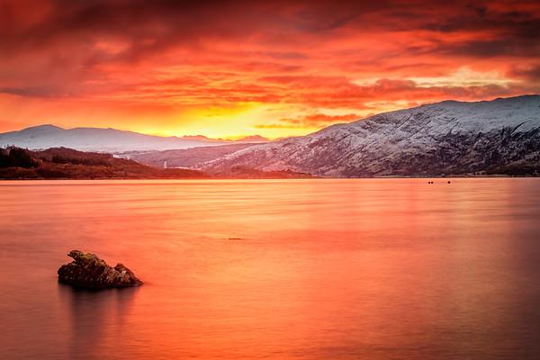 Snow and Sunrise -  Morvern from Loch Sunart Shore, Rockpool House, Resipole, Sunart