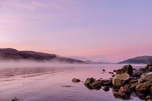 An autumn sunset over Loch Sunart at Rockpool House, Resipole