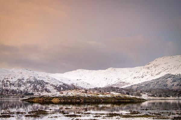 Snowy Island - Eilean an t-Sionnaich and Glen Laudale from Ardery, Sunart
