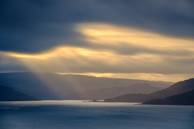 Dùn Light - Dùn Ghallain in Loch Sunart, viewed from Meall Mor, Resipole, Sunart