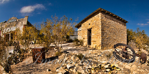 Buildings and old equipment in Terlingua Ghost Town