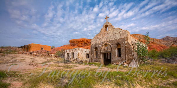 abandoned church and other buildings near Big Bend State Park