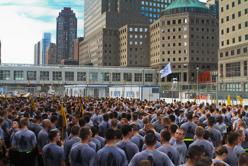 Cadets at Ground Zero who have just finished  running the Tunnels to Tower 5k, prepare to get a tour of the recently opened 9/11 memorial on September 25, 2011.