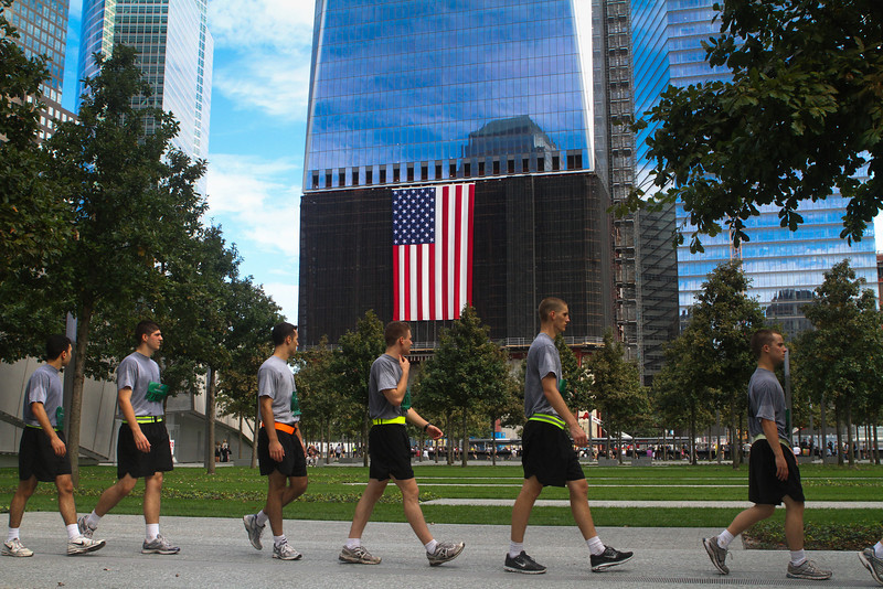 Cadets tour the recently opened 9/11 memorial at Ground Zero after finishing the Tunnels to Tower run on September 25, 2011.