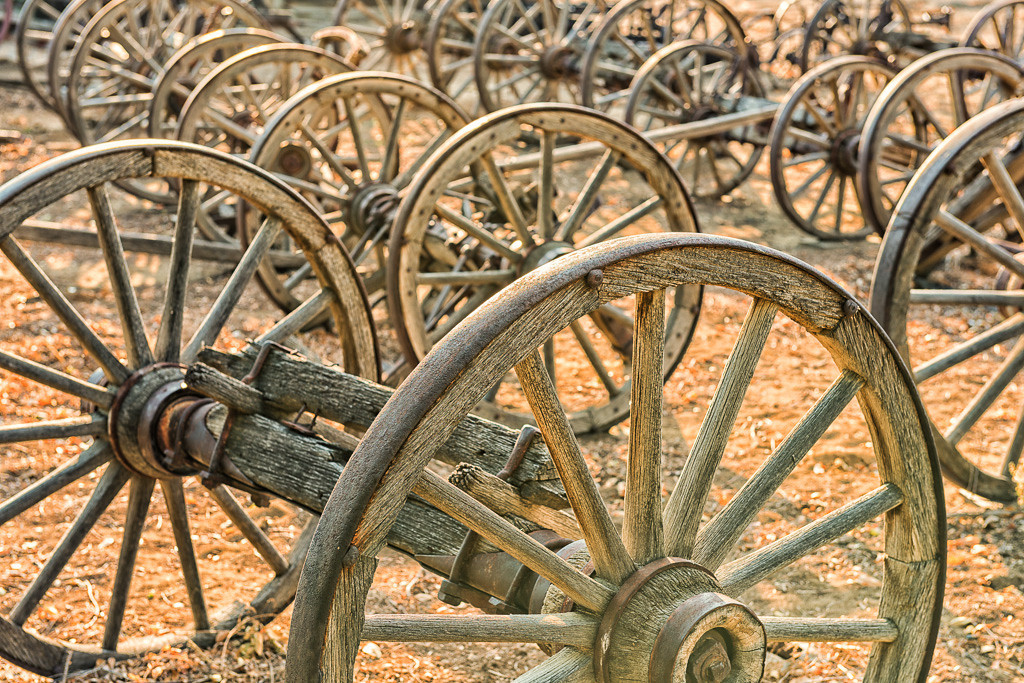 Pieces Of Old Wooden Wagons From The Old West Are Found, Incluing Wooden Wagon  Wheels