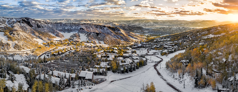 sunset over snow during fall season inc olorado