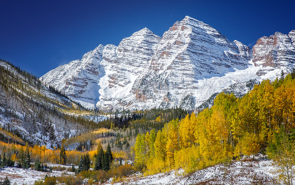 cloesup of Maroon Bells in winter