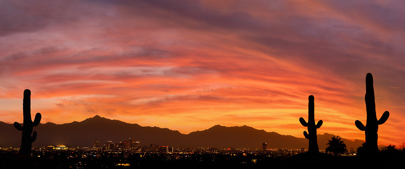 A vibrant sunset over Phoenix Arizona