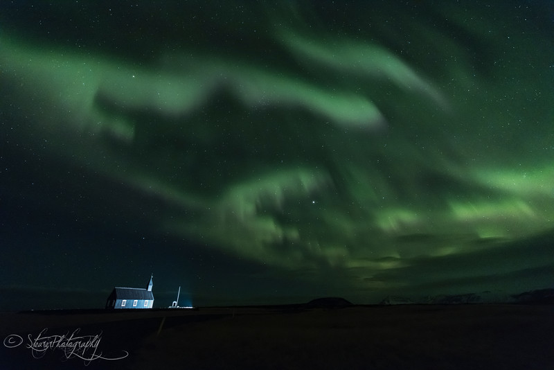 Nothern Lights over Budir Chapel - Iceland 2016