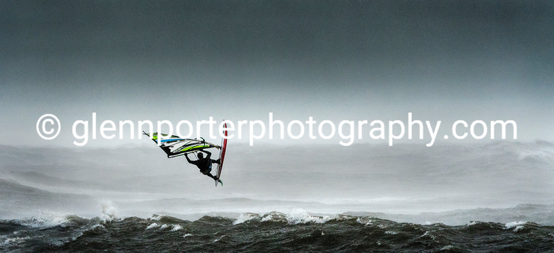 Windsurfing the storm at Newton beach, South Wales.