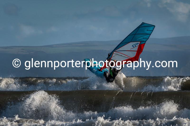 Windsurfing some barrel waves.