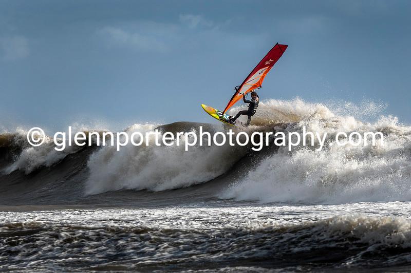 Big wave windsurfing, Storm Brian.