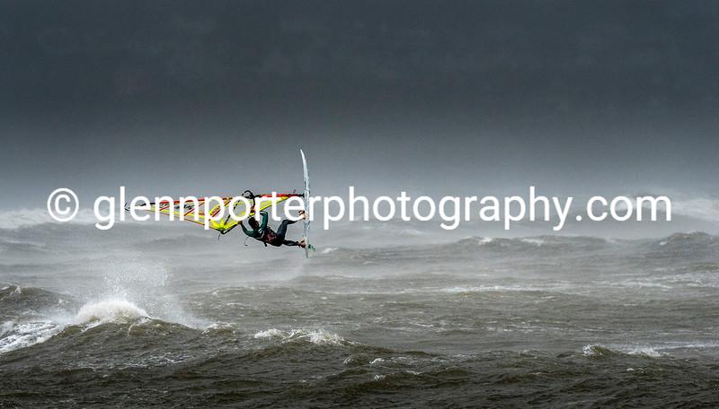 Windsurfing a big storm at Newton beach, Wales.