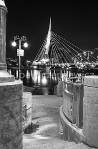 Esplanade Riel during Red River Spring Flood (black & white)