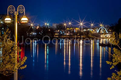 Night Light Reflections on the Red River