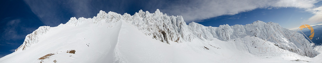 Panorama of the Hogsback and a team of climbers on the West Crater Route from Crater Rock. Please Follow Me! https://tlt-photography.smugmug.com/