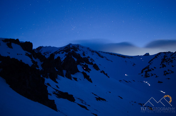 4:30 am on Casaval Ridge, Mt. Shasta.  Watching the hoards of climbers ascending Avalanche Gulch with headlamps on before sunrise. Please Follow Me! https://tlt-photography.smugmug.com/