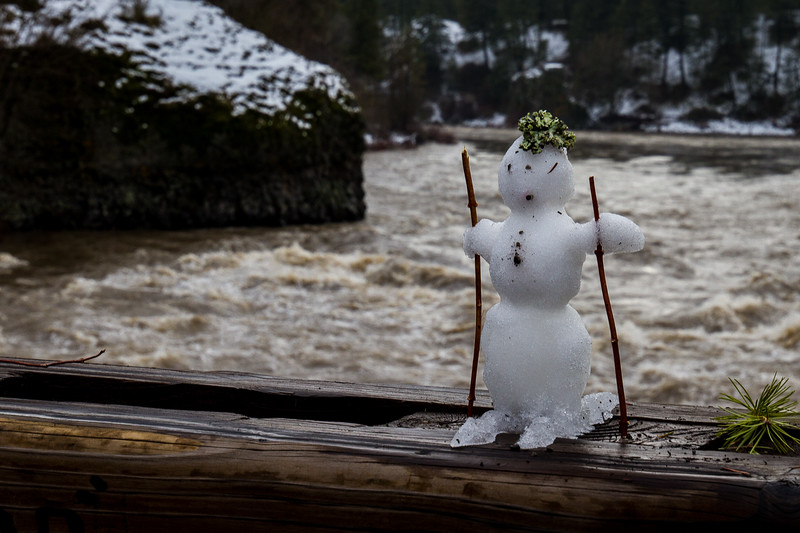 Snowman on a Bridge