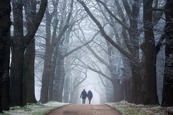 Hand in hand in winter wonderland