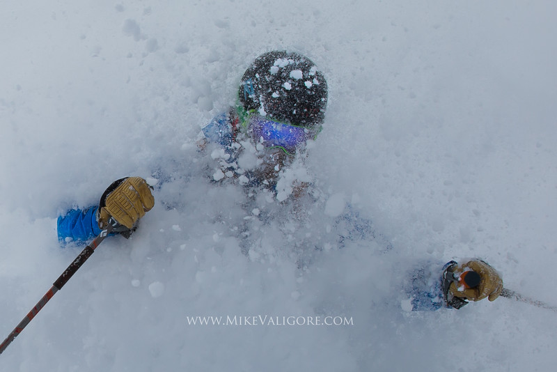 Deep powder skiing face shots<br /> Vail backcountry, Colorado