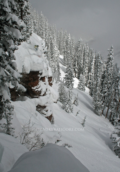 Cliff Hucking<br /> Vail backcountry, Colorado