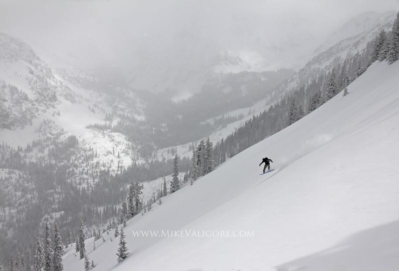 Gore Snowboarding<br /> <br /> Elliot Bernhagen snowboards the Gore Range in the Vail backcountry.