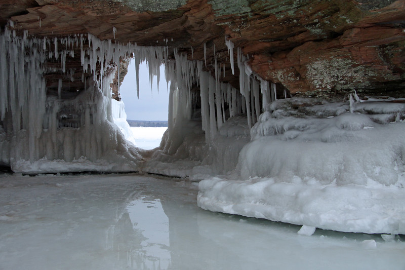 Sandstone arch cloaked with ice and lichen - Apostle Island National Lakeshore.