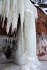 Ice column and waterfall - along the sea/ice cave - Lake Superior.