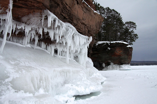Lake wave ice and sea cave along the Bayfield Peninsula shoreline - Lake Superior.