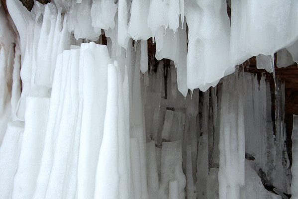 Fragmented ice columns.