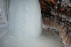 Leached spring water column atop Lake Superior, in a sea/ice cave, along the sedimentary sandstone shoreline, now mostly coated with ice.