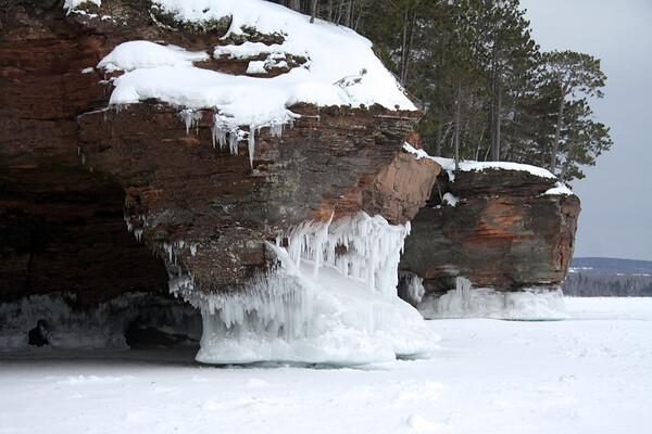 Sedimentary sandstone cliffs of the Bayfield Peninsula - Apostle Islands National Lakeshore - Lake Superior.