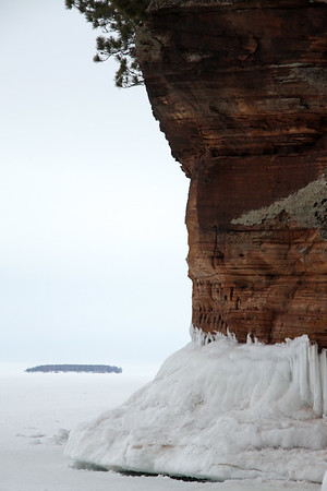 From the frozen lake shore of Superior - out to Eagle Island.