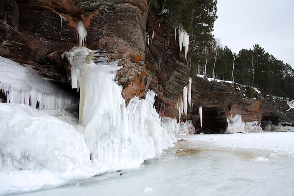 Ice - Rock - Lichen - Trees - Apostle Islands National Lakeshore - northern most Wisconsin.