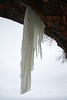 Icicle sculpturing among the sandstone cliff along the shoreline of the Bayfield Peninsula.