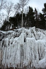 Ice sheet suspended below the fallen trees - forming a frozen horsetail falls.