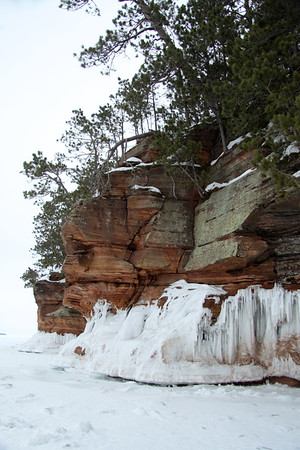 Lichen coated sandstone cliff face, with a fallen pine along the ridge, above the Lake Superior frozen wave line - and a glimpse of Eagle Island along the distal horizon.