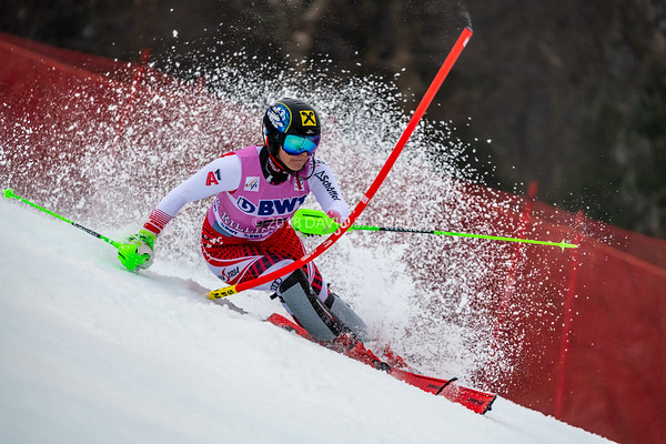 Katharina Gallhuber AUT racing in the second run of the Audi FIS Ski World Cup Women's Slalom event held at Killington Resort in Vermont, USA, November 25, 2018.
