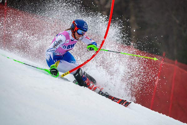 Petra Vlhova SVK racing in the second run on her way to a second place finish of the Audi FIS Ski World Cup Women's Slalom event held at Killington Resort in Vermont, USA, November 25, 2018.