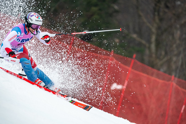 Michelle Gisin SUI racing in the second run of the Audi FIS Ski World Cup Women's Slalom event held at Killington Resort in Vermont, USA, November 25, 2018.